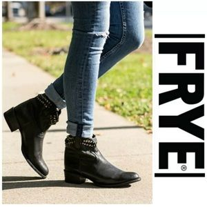 FRYE Diana Cut Studded Short Black Leather Boots